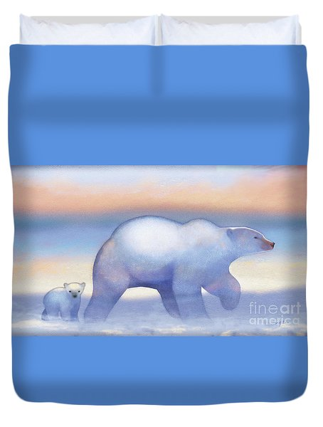 Arctic Bears, Journeys Bright Duvet Cover by Tracy Herrmann