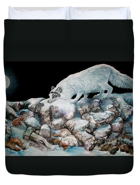 Duvet Cover featuring the painting Arctic Encounter by Sherry Shipley