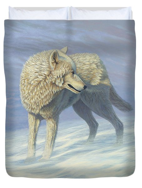 White Wolf In Blowing Snow, Acrylic Painting, Canine Duvet Cover