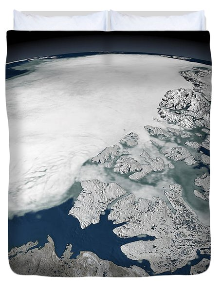 Arctic Sea Ice Above North America Duvet Cover by Stocktrek Images