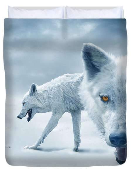 Arctic Wolves Duvet Cover by Mal Bray
