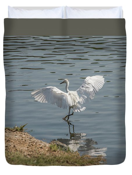 Are You Ready To Dance - Great Egret In Mtn View Ca Duvet Cover