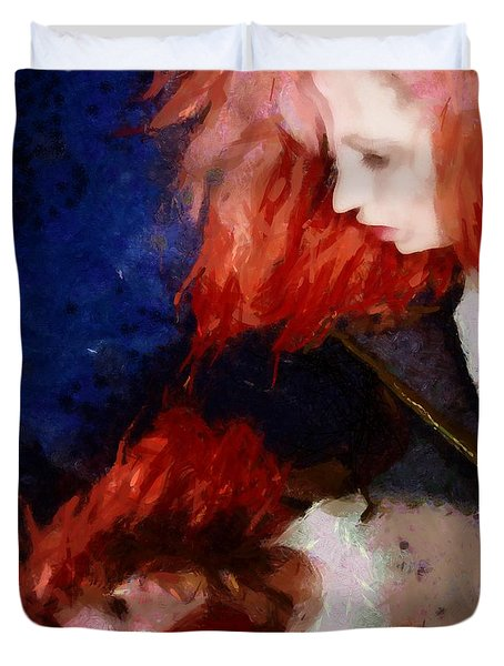 Duvet Cover featuring the digital art Are You There My Mirror Twin by Gun Legler