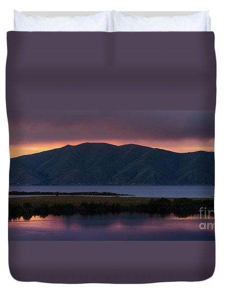 Aregunyats Range And Sevan Lake At Sunset, Armenia Duvet Cover