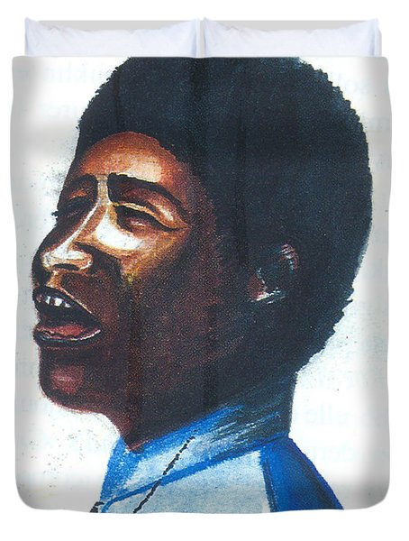 Duvet Cover featuring the painting Aretha Franklin by Emmanuel Baliyanga