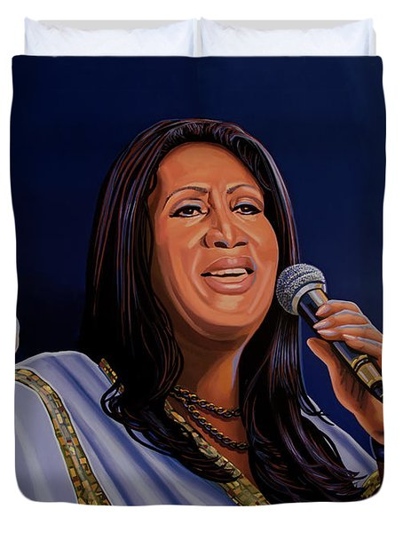 Aretha Franklin Painting Duvet Cover