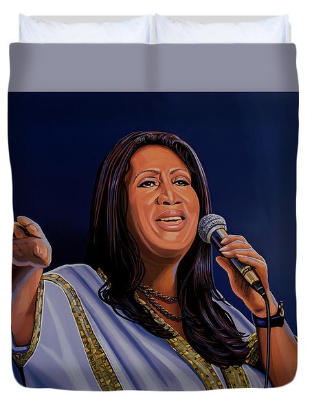 Aretha Franklin Painting Duvet Cover by Paul Meijering