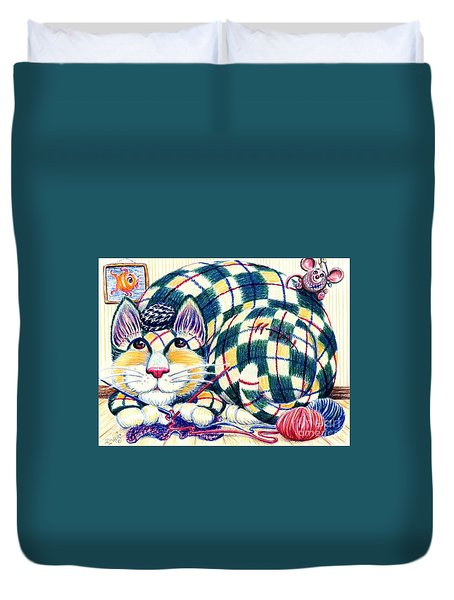 Duvet Cover featuring the drawing Argyle by Dee Davis