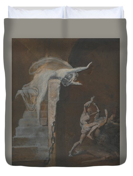Ariadne Watching The Struggle Of Theseus With The Minotaur Duvet Cover by Henry Fuseli