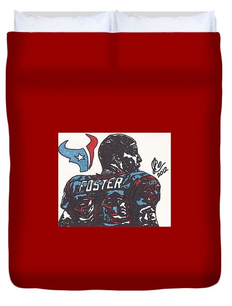 Duvet Cover featuring the drawing Arian Foster 2 by Jeremiah Colley