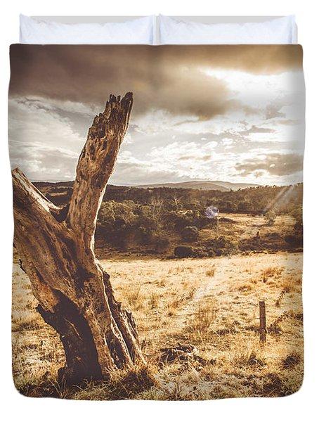 Arid Tasmania Bush Landscape Duvet Cover