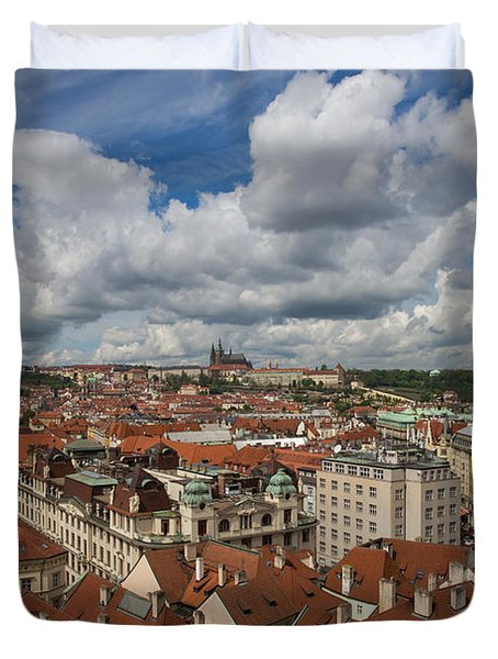 Ariel View Of Prague From Old City Hall Duvet Cover