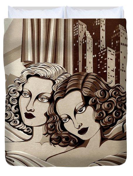 Arielle And Gabrielle In Sepia Tone Duvet Cover by Tara Hutton