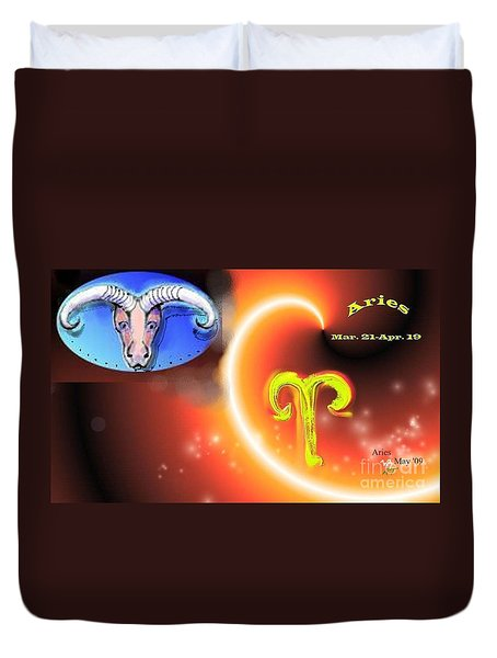 Duvet Cover featuring the painting Aries by The Art of Alice Terrill