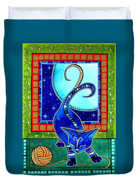Aries Cat Zodiac Duvet Cover