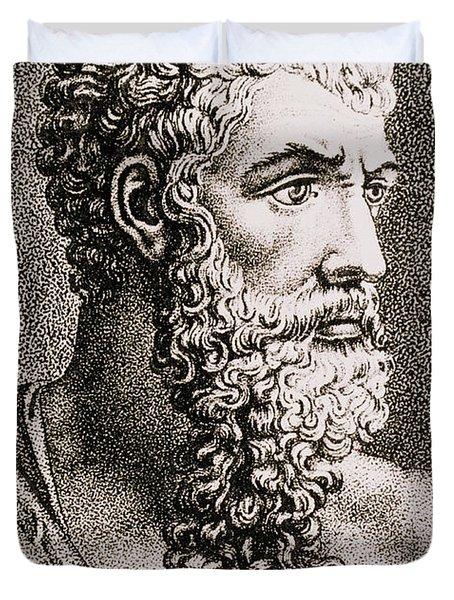 Aristotle, Ancient Greek Philosopher Duvet Cover by Science Source