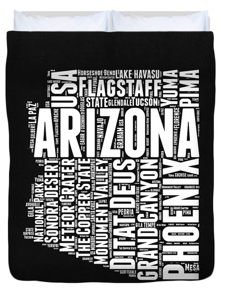 Arizona Black And White Word Cloud Map Duvet Cover by Naxart Studio