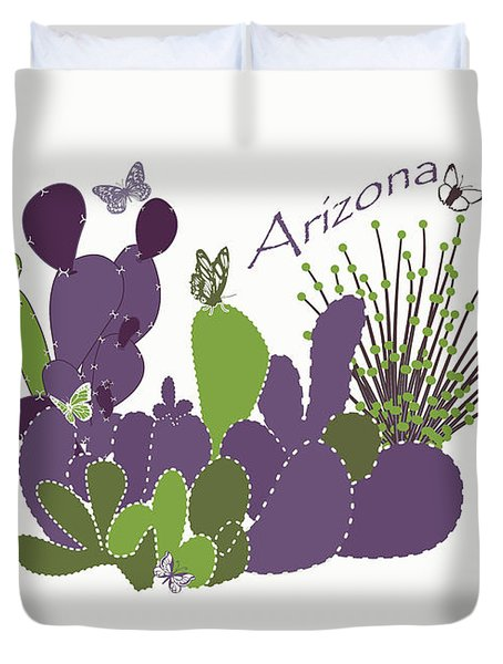 Duvet Cover featuring the digital art Arizona Cacti by Methune Hively