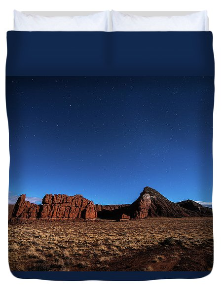Arizona Landscape At Night Duvet Cover