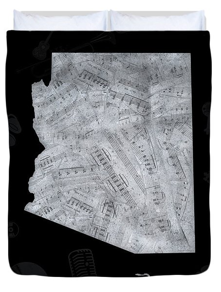Arizona Map Music Notes 2 Duvet Cover