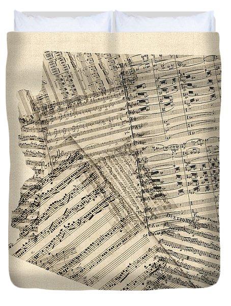 Arizona Map, Old Sheet Music Map Duvet Cover by Michael Tompsett