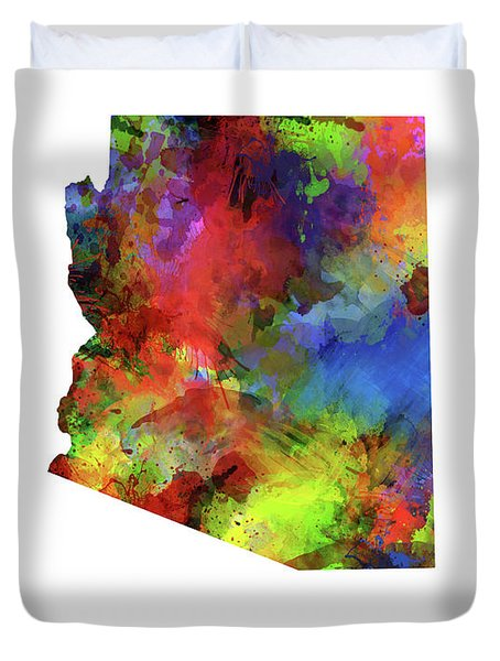 Arizona Map Watercolor Duvet Cover