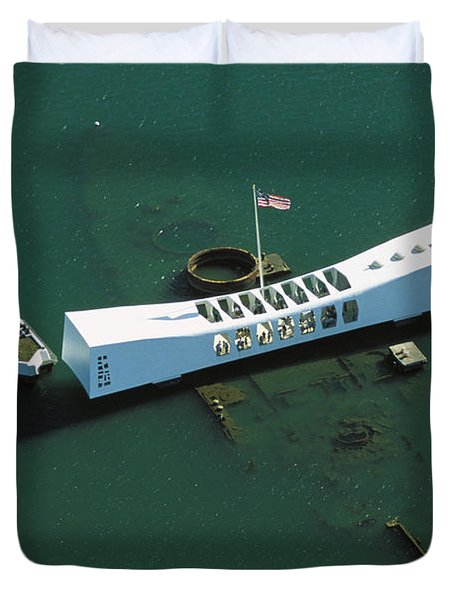 Arizona Memorial Aerial Duvet Cover