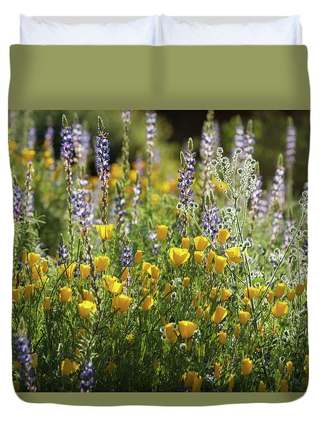 Duvet Cover featuring the photograph Arizona Spring Wildflowers  by Saija Lehtonen