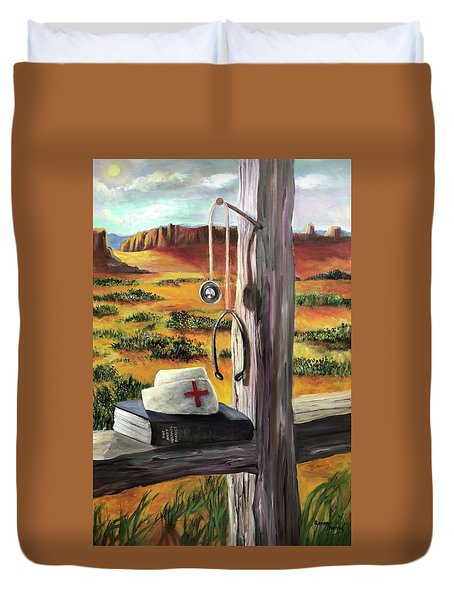 Duvet Cover featuring the painting Arizona The Nurse And Hope by Randol Burns