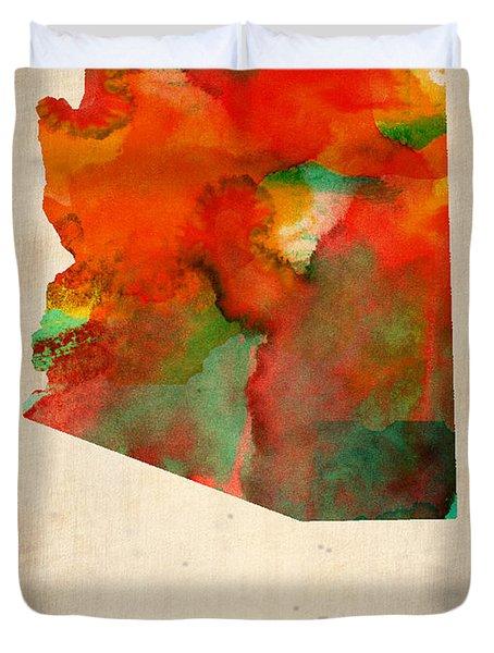 Arizona Watercolor Map Duvet Cover