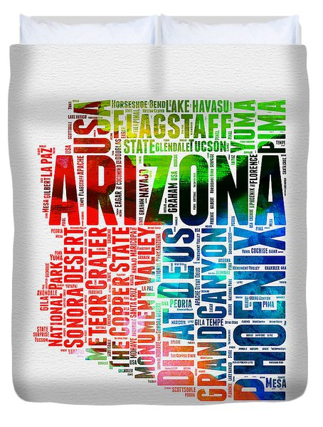 Arizona Watercolor Word Cloud Map  Duvet Cover by Naxart Studio