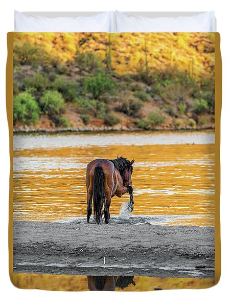 Arizona Wild Horse Playing In Water Duvet Cover
