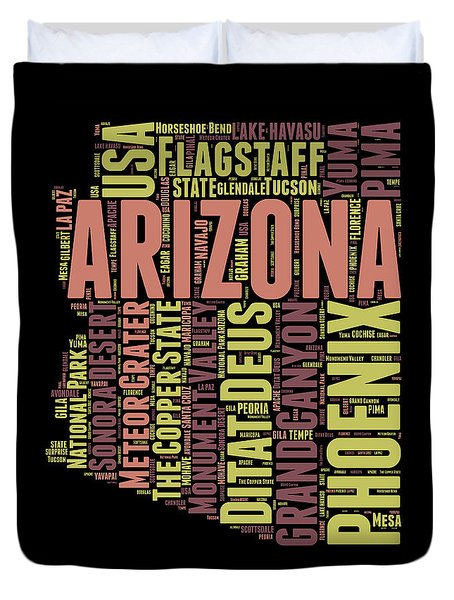 Arizona Word Cloud Map 1 Duvet Cover by Naxart Studio