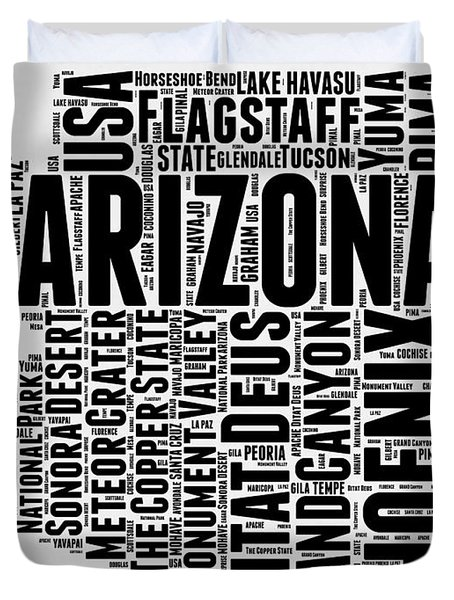 Arizona Word Cloud Map 2 Duvet Cover