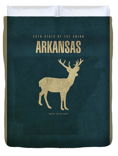 Arkansas State Facts Minimalist Movie Poster Art Duvet Cover