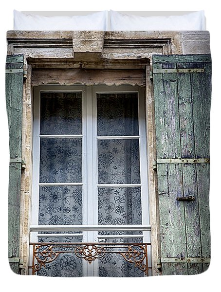 Duvet Cover featuring the photograph Arles France Green Window And Shutters by Gigi Ebert