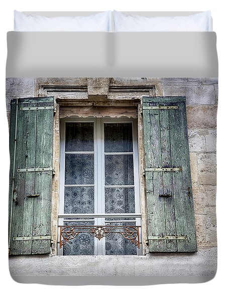 Arles France Green Window And Shutters Duvet Cover