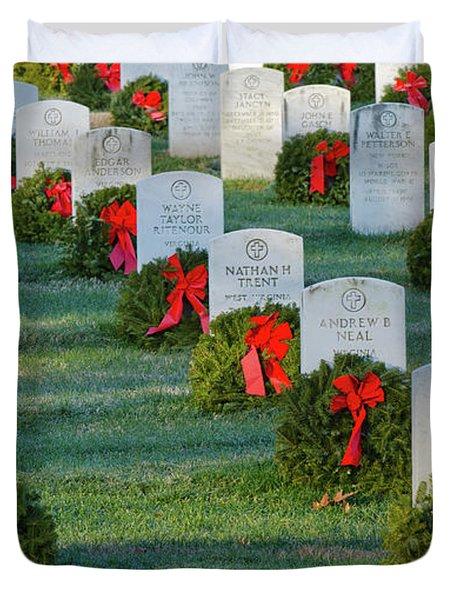 Arlington National Cemetery At Christmas Duvet Cover