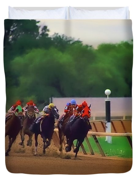 Arlington Park Out Of The Turn Into The Stretch Duvet Cover