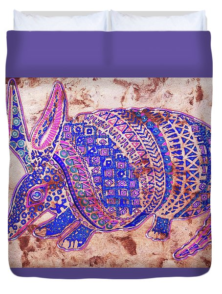 Duvet Cover featuring the painting Armadillo by J- J- Espinoza