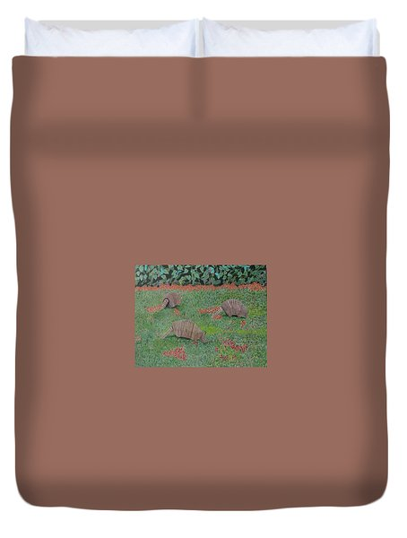 Armadillos In The Yard Duvet Cover