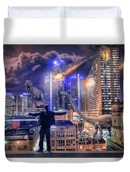 Duvet Cover featuring the photograph Armageddon Detroit by Nicholas Grunas