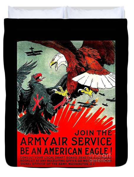 Army Air Service Recruitment Poster 1918 Duvet Cover