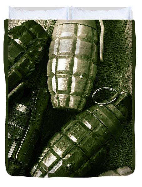 Army Green Grenades Duvet Cover