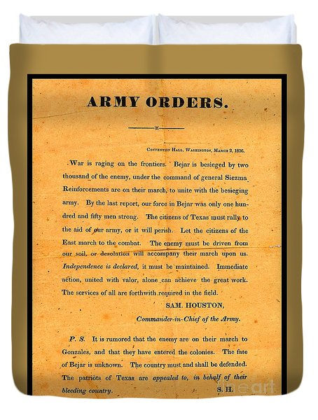 Texian Army Orders Call To Arms Broadside From Sam Houston 1836 Texas Revolution Duvet Cover