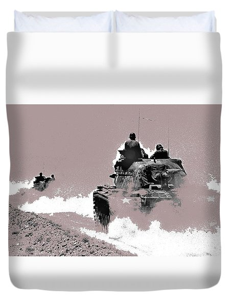 Army Reservists Summer Camp Tanks Death Valley California 1968-2016 Duvet Cover
