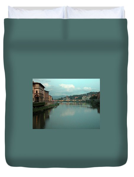 Duvet Cover featuring the photograph Arno River, Florence, Italy by Mark Czerniec