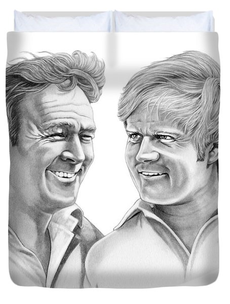 Arnold Palmer-jack Nicklaus Duvet Cover by Murphy Elliott