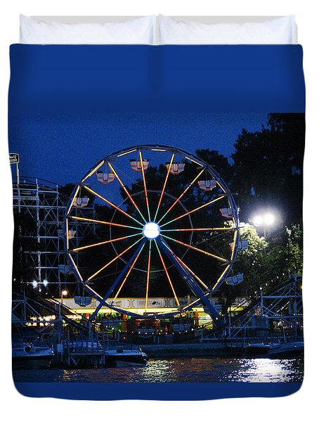 Arnolds Park At Night Duvet Cover