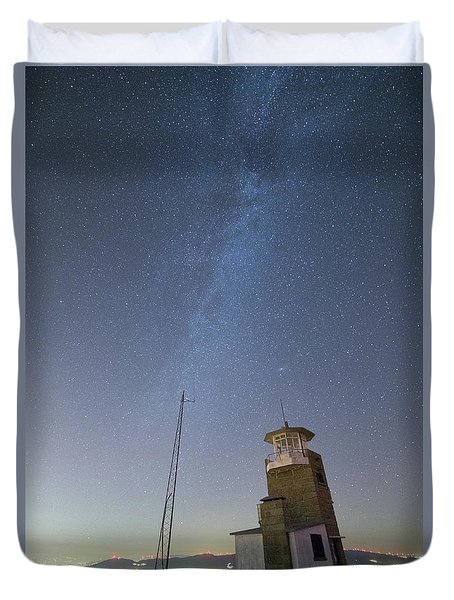 Duvet Cover featuring the photograph Arouca And The Milky Way by Bruno Rosa